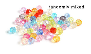 6mm Mixed color faceted beads - 6mm randomly mixed round beads - Bubblegum Beads - 25 pieces (1272-1)