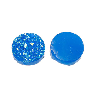 12mm Blue AB round resin cabochon - Blue AB Faux druzy cabochon - Faux drusy cabochon - Textured cabochons - 8 pieces (1887)