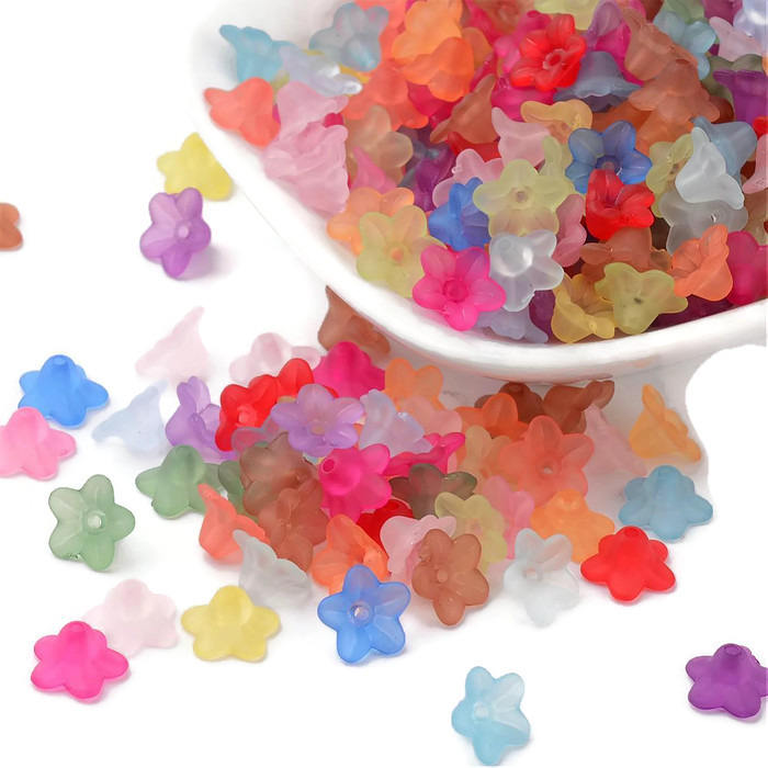 10mm x 5mm Acrylic mixed colorflower beads - 5 Petals Baby Flower bead - Flower Bead Caps - Flower Beadcap - 30 pieces (427)