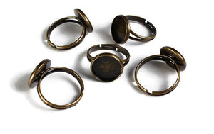12mm antique brass ring blank adjustable - Blank ring cabochon base - 12mm inner tray - 12mm bezel ring - 5 pieces (1911)