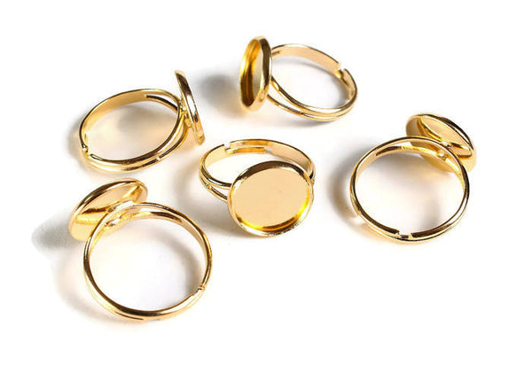 12mm Gold ring blank adjustable - Gold tone ring - Blank ring cabochon base - 12mm inner tray - 12mm bezel ring - 5 pieces (1913)
