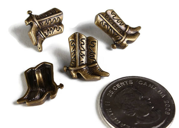 Cowboy Boot Buttons - Antique brass Cowgirl Boot Buttons - Shank Buttons - Metal Buttons - Western Buttons - 4 pieces (1910)