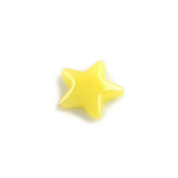 Star Yellow plated pearlized finish cabochons - Yellow porcelain cabochon - Kawaii cabochon - 7mm to 8mm - 10 pieces (1925)