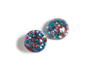 12mm Teal blue Pink and gold cabochon - Glitter Cabochon - Domed Flat Back cabochons - 12mm glitter cabochons - 6 pieces (1870)