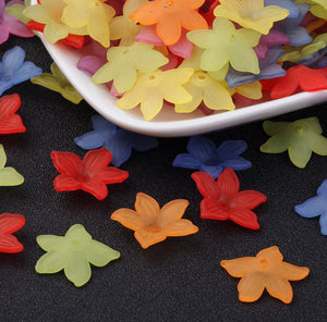 27mm mixed color large flower beads - 27mm Acrylic Bead - 27mm Flower Star beads - Daisy 5-Petal Frosted beads - 10 pieces (1766)