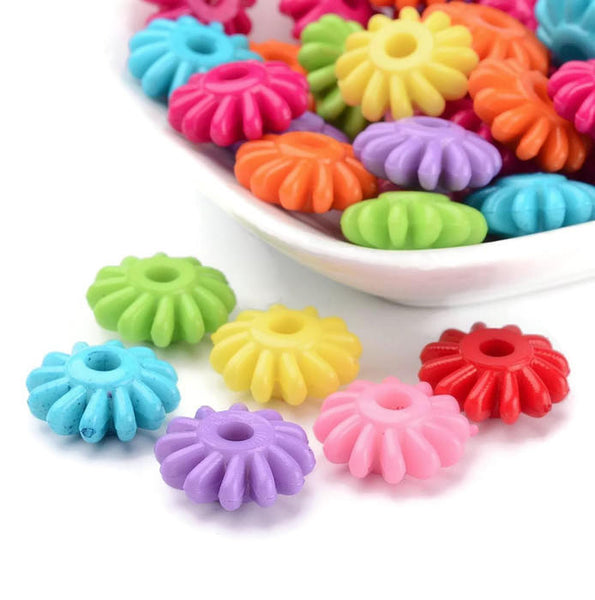 17mm mixed color flower beads - 17mm Acrylic Bead - 17mm Flower beads - 17mm flower spacers - Flower spacer - 16 pieces (1767)