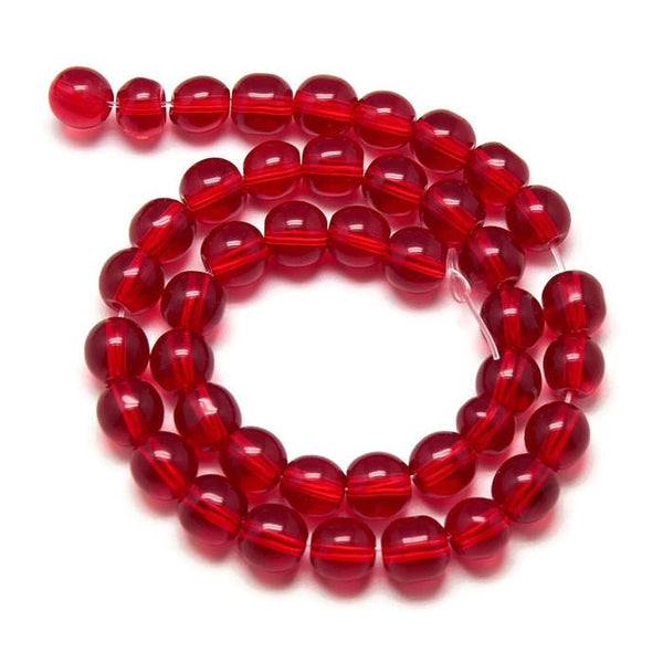 6mm red glass beads - 6mm red round beads - 6mm red round glass beads - 6mm round beads - 1 strand (1938)