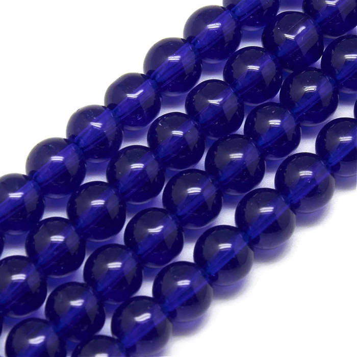 6mm blue glass beads - 6mm Blue round beads - 6mm blue round glass beads - 6mm round beads - 1 strand (1939)