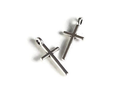 Antique silver cross charm pendant - christian cross - Jesus Crucifix medal Catholic Christian - 17mm x 8mm - 5 pieces (1919)