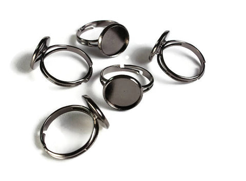 12mm Black ring blank adjustable - Gunmetal ring - Blank ring cabochon base - 12mm inner tray - 12mm bezel ring - 5 pieces (1912)