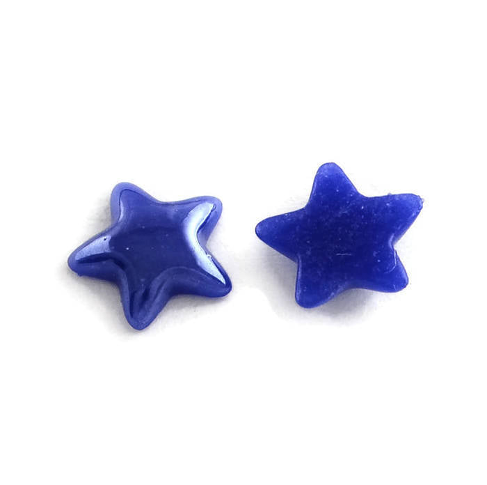 Star Blue plated pearlized finish cabochons - Dark blue porcelain cabochon - Kawaii cabochon - 7mm to 8mm - 10 pieces (1921)
