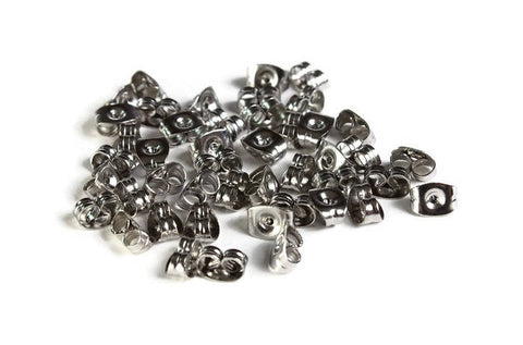 Stainless Steel Earring back stopper - earring stoppers earnut - Stainless Steel Ear Nut - Butterfly - 6mm x 4mm - 30 pieces (1975)