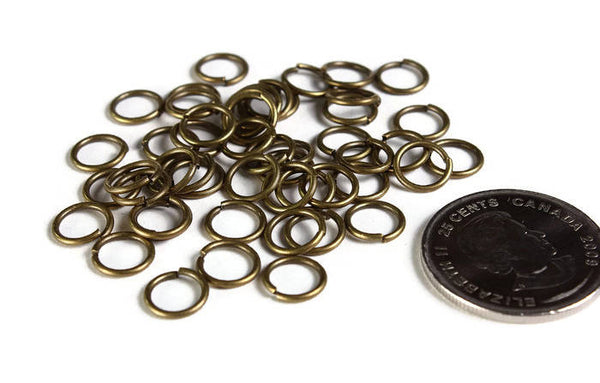 8mm antique brass jumprings - 8mm open jumpring - 8mm round jumprings - 8mm Open jump rings - 50 pieces (1973)