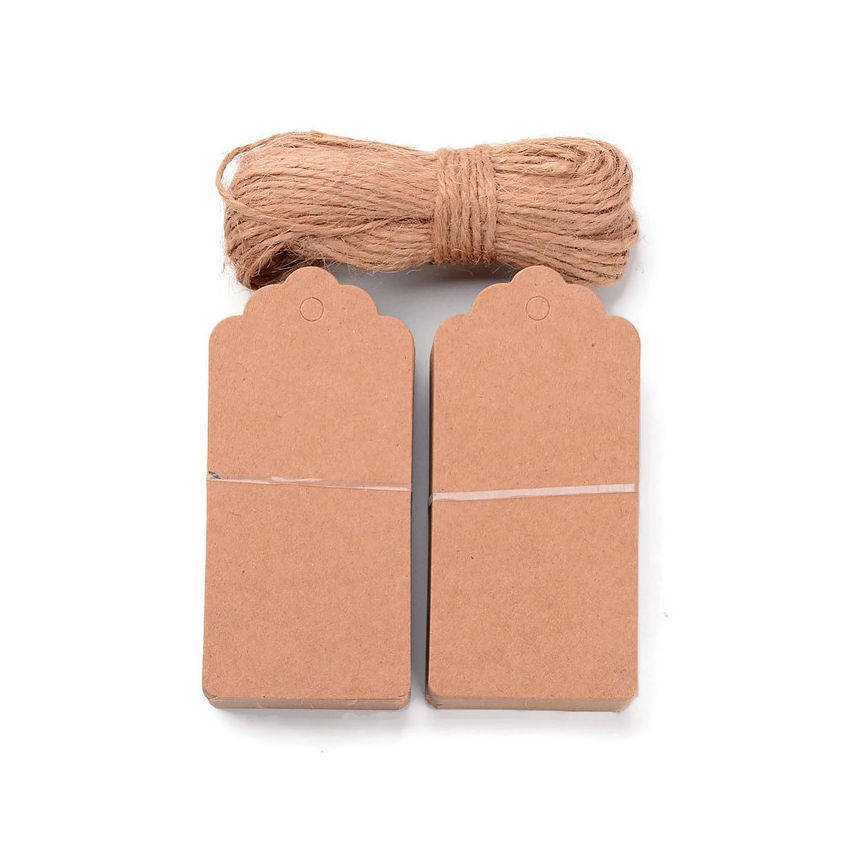Jewelry price tags - Jewelry Display Paper Price Tags with Hemp Yarn - blank tags - Kraft Tags - 95mm x 45mm - 10 pieces (1917)