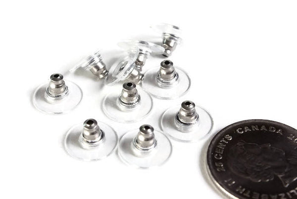 Stainless steel earring stopper - Comfort clutch ear nut - 304 Stainless steel - Comfort plastic earnut - Ear post stopper - 10 pieces (1986)