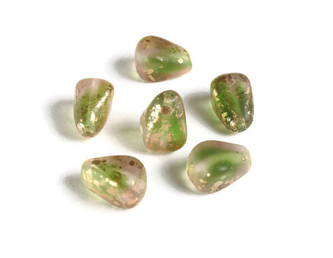 Pink Green Gold Old Style Drop - Czech glass beads - Czech Picasso Glass Beads - Gold Specks beads - 12mm x 10mm - 6 pieces (6012)