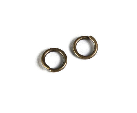 6mm Petite antique brass jumprings - 6mm open jumpring - 6mm round jumprings - Open jump rings - 50 pieces (1944)