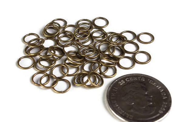 7mm Petite antique brass jumprings - 7mm open jumpring - 7mm round jumprings - 7mm Open jump rings - 50 pieces (1946)