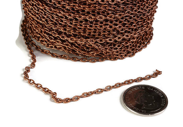 4mm x 3mm antique copper cable chain - Antique copper textured chain - Antique copper cross chain - Nickel free - Lead free - 10 feet (1880)