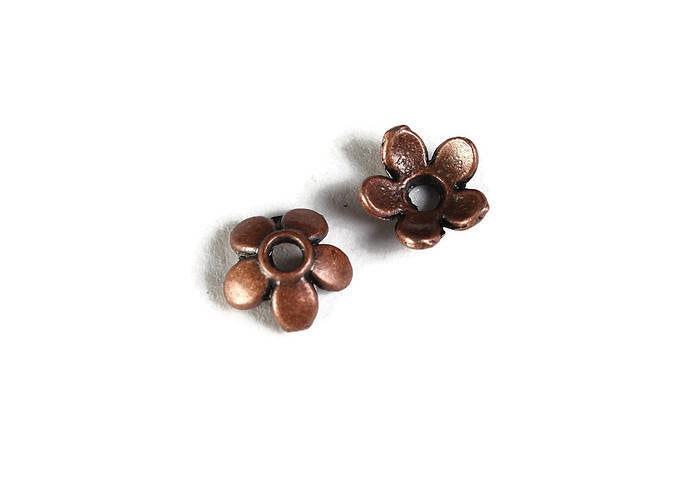 6mm antique copper flower beadcaps
