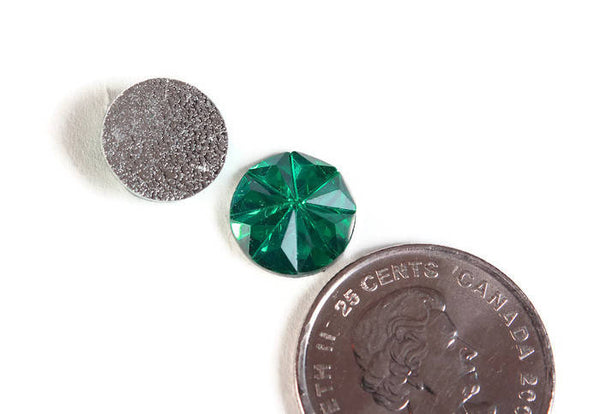 12mm Green faceted round resin cabochon - 12mm Acrylic rhinestone cabochon - Textured cabochons - 8 pieces (1805)