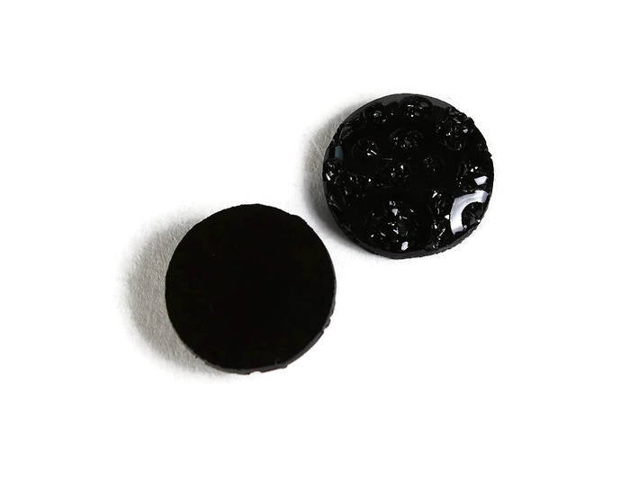 12mm Black textured cabochon