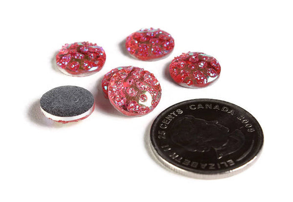 12mm AB Pink  round cabochon - 12mm Faux druzy cabochon - Textured cabochon - 12mm cabochons - 6 pieces (1958)
