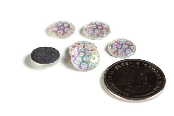 12mm AB Rainbow white round cabochon - 12mm Faux druzy cabochon - Textured cabochon - 12mm cabochons - 6 pieces (1961)