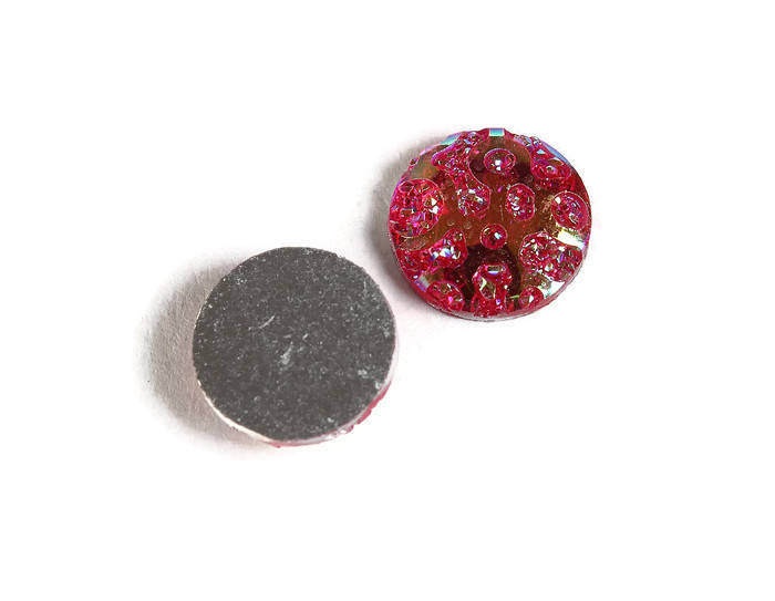 12mm AB Hot pink textured cabochon