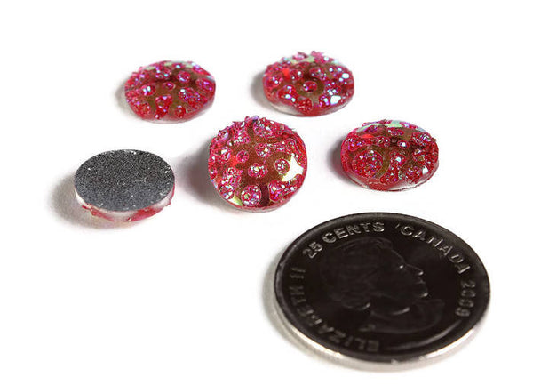 12mm AB Hot pink  round cabochon - 12mm Faux druzy cabochon - Textured cabochon - 12mm cabochons - 6 pieces (1962)
