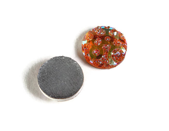 12mm AB Orange faux drusy cabochons
