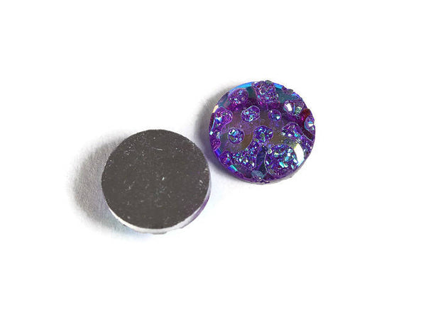 12mm AB Purple faux druzy cabochon