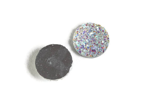 12mm Rainbow silver AB round resin cabochon