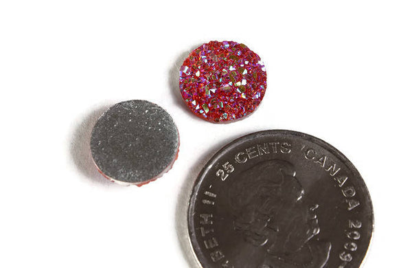 12mm Pink orange AB round resin cabochon - Faux druzy cabochon - Faux drusy cabochon - Textured cabochons - 6 pieces (1951)