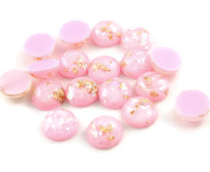 12mm Pink and gold cabochon