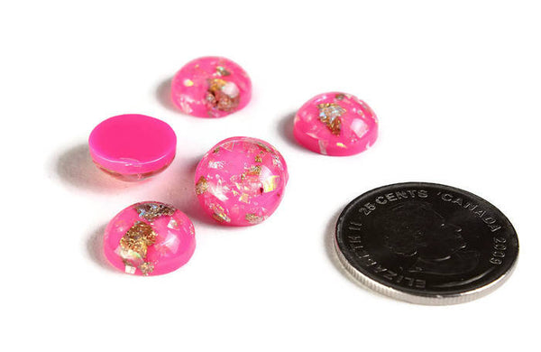 12mm Hot pink Gold cabochon - Glitter Cabochon - Domed Flat Back cabochons  - 12mm glitter cabochons - 6 pieces (2015)