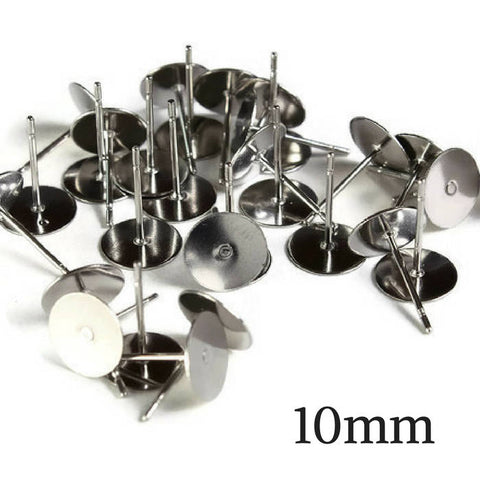 10mm Stainless Steel earstuds - post earrings - flat pad earrings - stainless steel earrings - stud earrings - 30 pieces (1977)