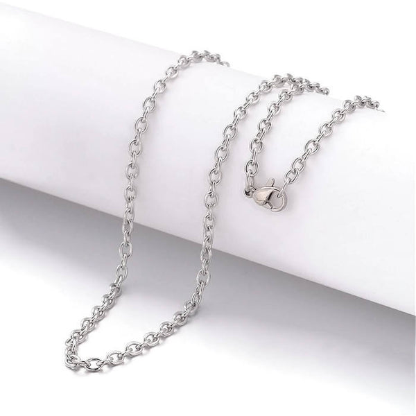 Stainless steel necklace 18 inches - Fine chain 2.5mm x 2mm - 304 Stainless steel - Cross Chains with Lobster Clasps - 18 inches - 1 piece (2023)
