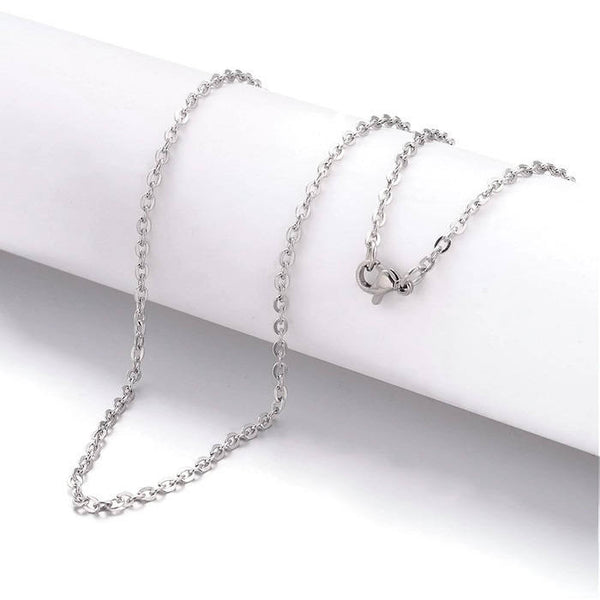 Stainless steel necklace 24 inches - Fine chain 3mm x 2mm - Cross Chains with Lobster Clasps - 24 inches - 1 piece (2026)