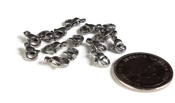 10mm Stainless steel clasps - 304 Stainless Steel - Stainless steel lobster clasps - 15 pieces (2009)
