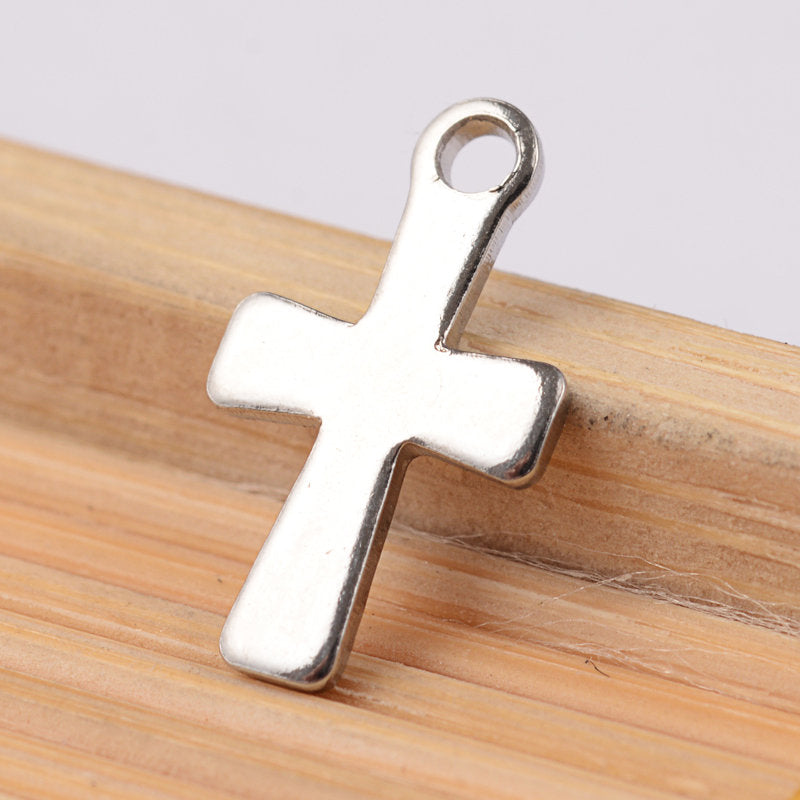 Stainless Steel cross charms - stainless steel charms - Stainless steel crosses charms - 12mm x 7mm (2046)