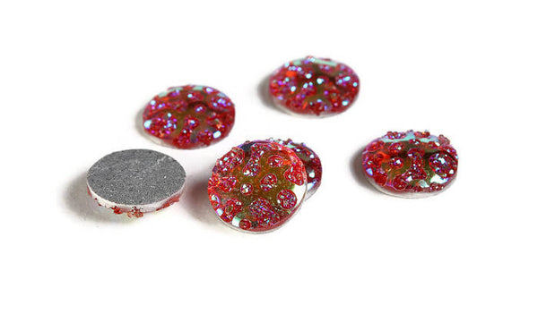 12mm AB Deep pink orange round cabochon - 12mm Faux druzy cabochon - Textured cabochon - 12mm cabochons - 6 pieces (1957)