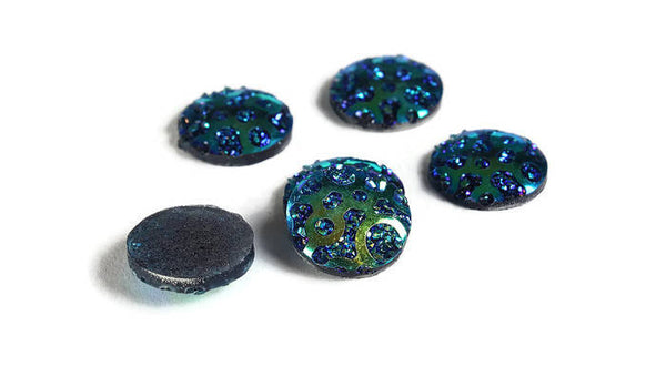 12mm AB Blue round cabochon - 12mm Faux druzy cabochon - Textured cabochon - 12mm cabochons - 6 pieces (1959)