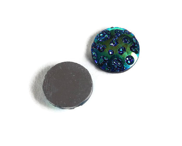 12mm AB Blue round cabochon