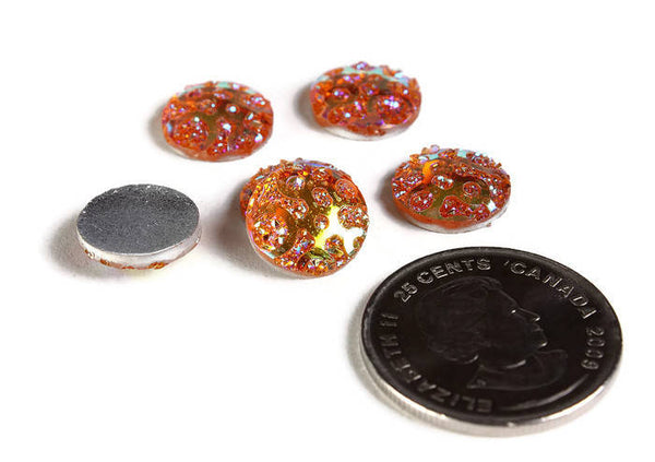 12mm AB Orange round cabochon - 12mm Faux druzy cabochon - Textured cabochon - 12mm cabochons - 6 pieces (1963)