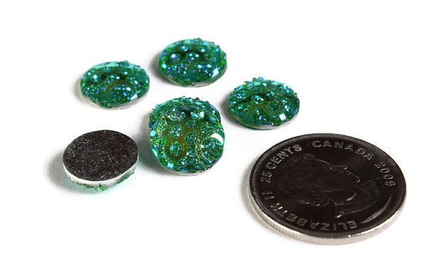 12mm AB Green round cabochon - 12mm Faux druzy cabochon - Textured cabochon - 12mm cabochons - 6 pieces (1965)