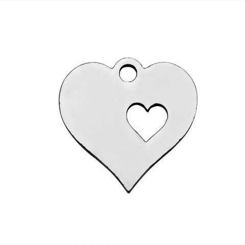Stainless Steel Heart charms - 12mm stainless steel Heart charms - Stainless steel Heart pendant - 12mm (2049)
