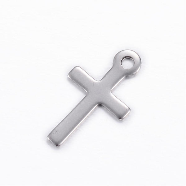 Stainless Steel cross charms - stainless steel charms - Stainless steel crosses charms - 17mm x 10mm (2050)