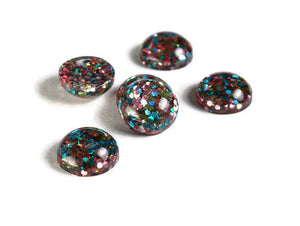 12mm Pink yellow blue cabochon