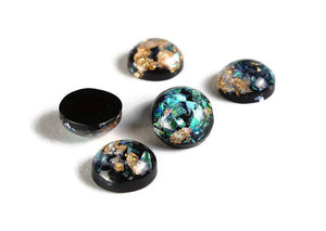 12mm Black gold green blue yellow cabochon